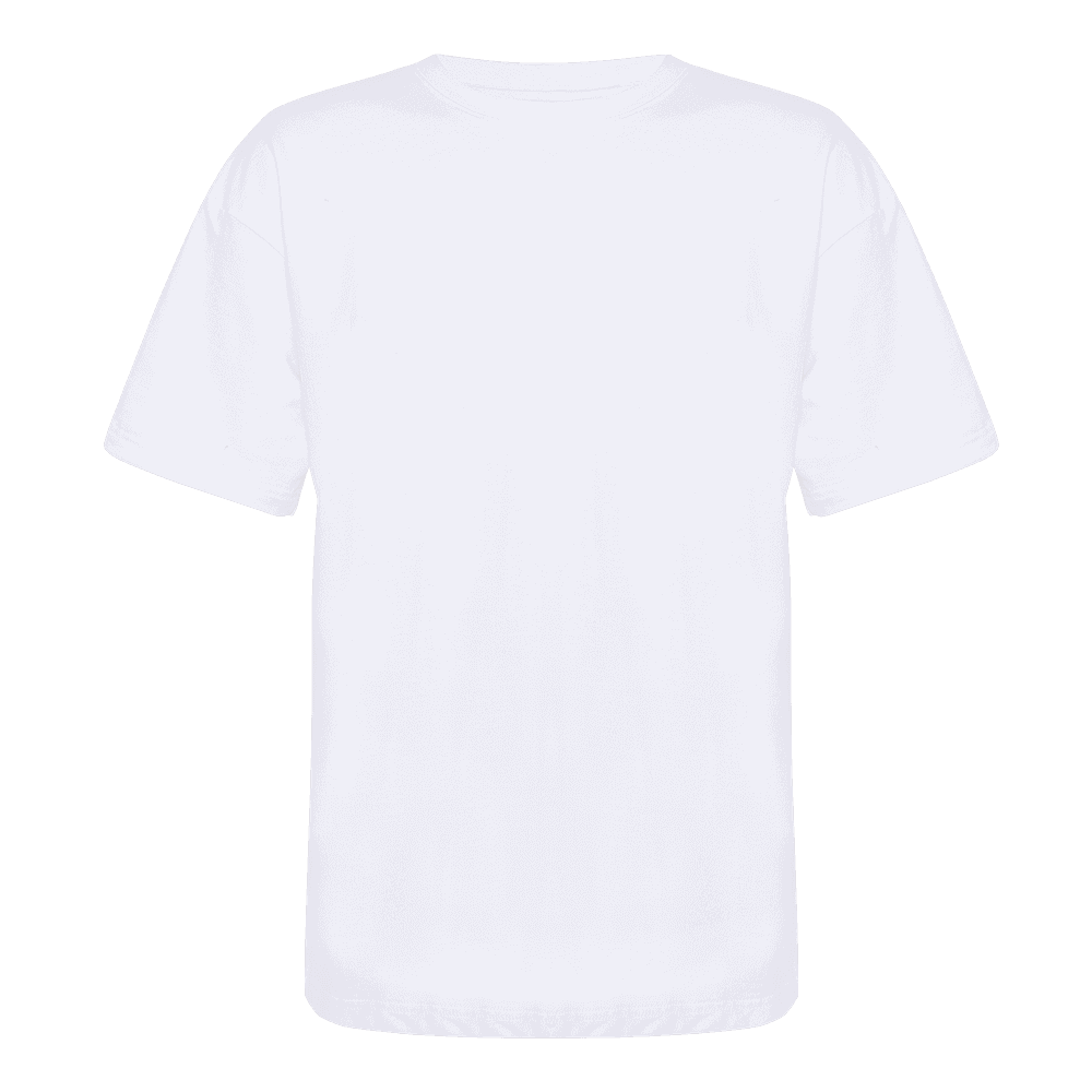 Back side of a white round neck short sleeve regular T-shirt