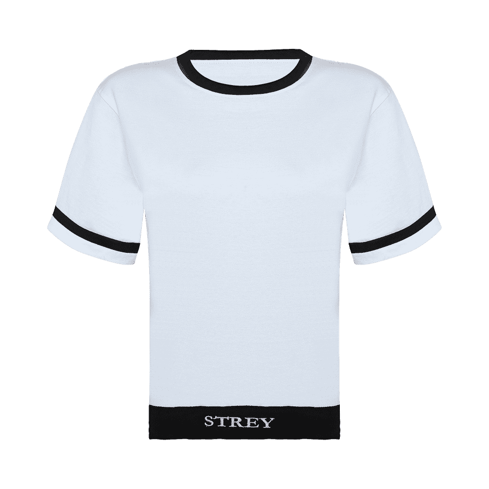 black and white round neck short sleeve regular fit T-shirt with black bands on neck sleeves and bottom of the T-shirt.