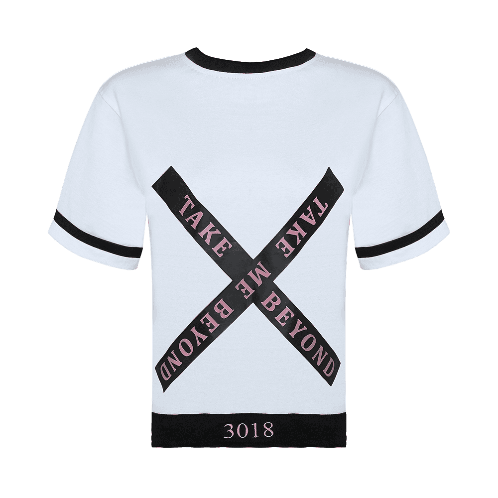 Back side of a black and white round neck short sleeve regular fit T-shirt with black bands on neck sleeves and bottom of the T-shirt with take me beyond written on the back..