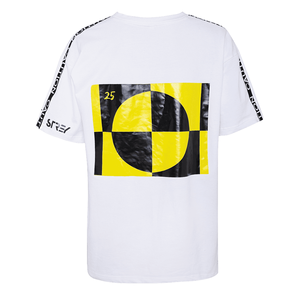 White and black round neck short sleeve regular fit T-shirt with Caution printed on the sleeves and a yellow and black pie in the center.