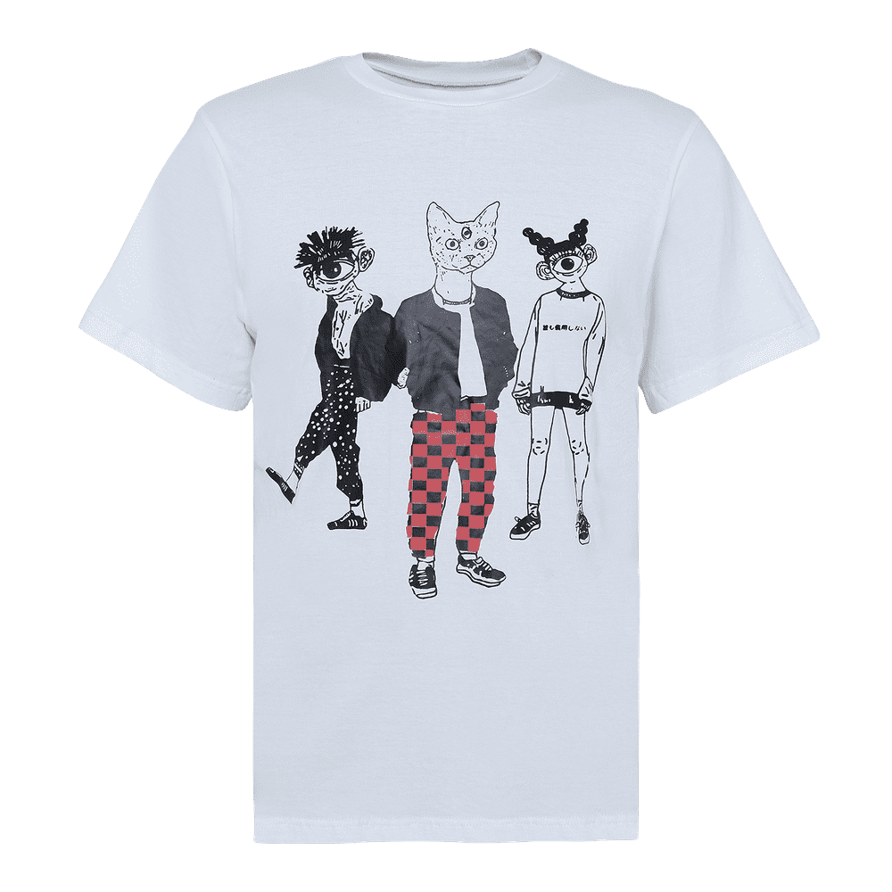 white round neck short sleeve regular fit T-shirt with 3 cartoons printed on it.
