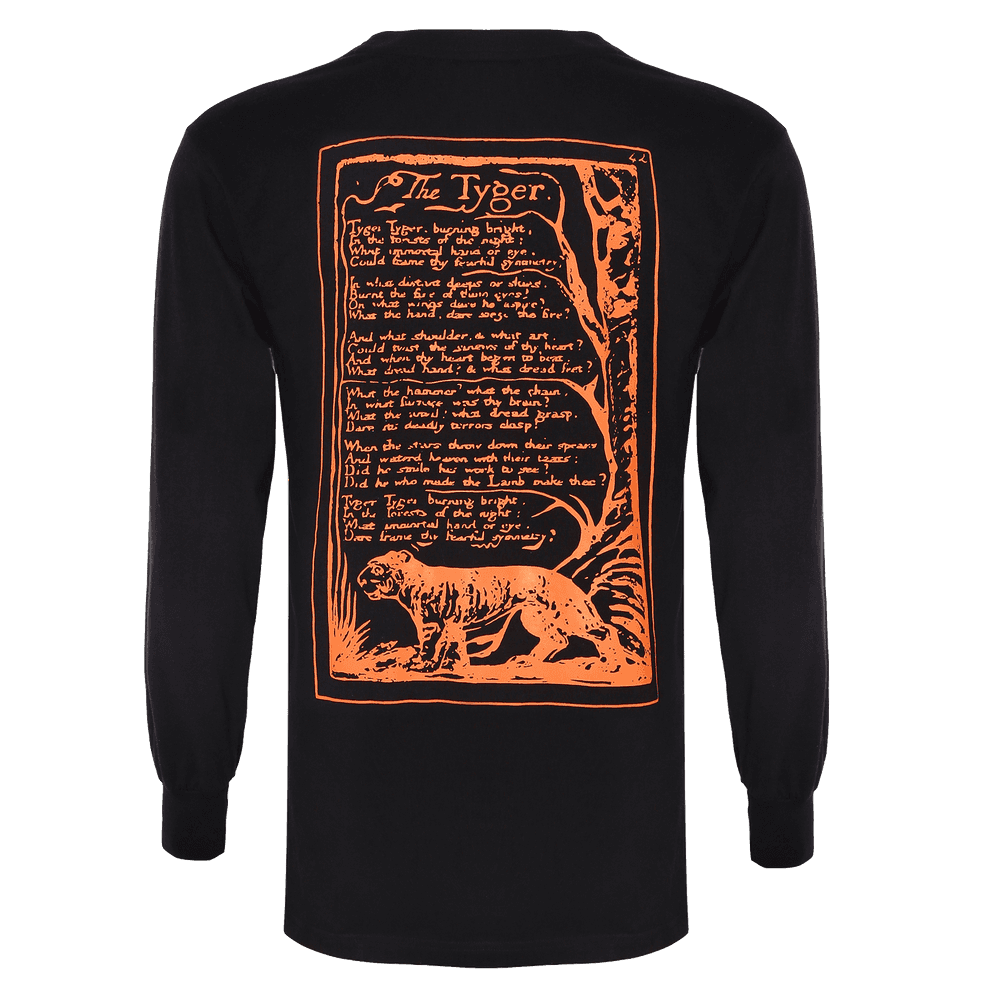 Back side of black round neck Full sleeve regular fit T-shirt with elastic bands on neck sleeves and bottom of the T-shirt with some text about the tyger is printed on it.
