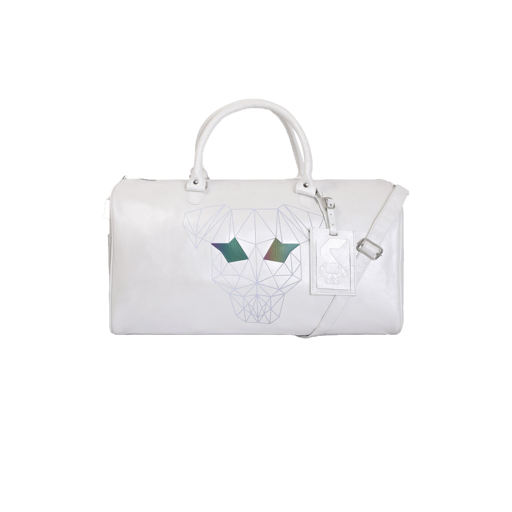 White duffle bag with handles and a sling has strey dog printed on the front with chain on the top