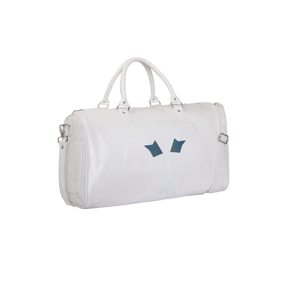Side view of a White duffle bag with handles and a sling has strey dog printed on the front with chain on the top