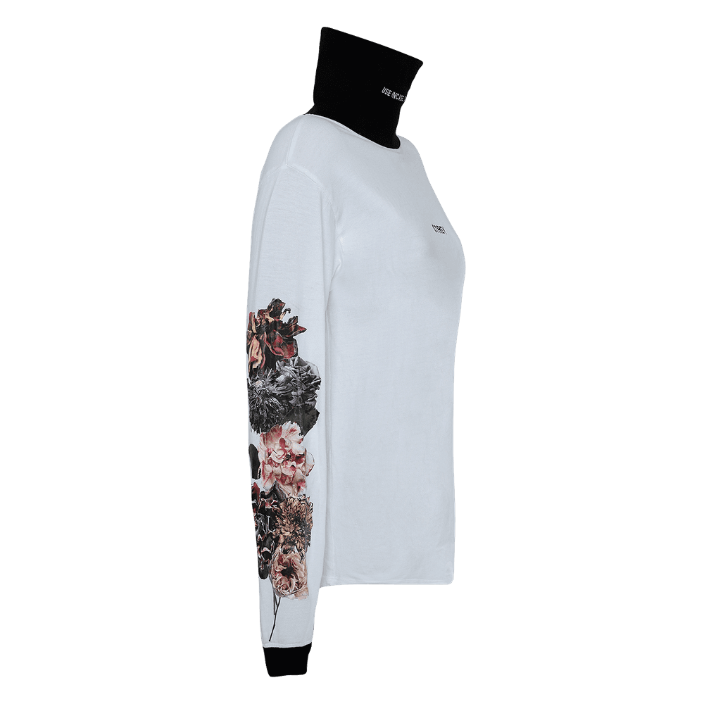 Side view of high neck white and black full sleeves regular fit T-shirt with flowers printed on the sleeves.