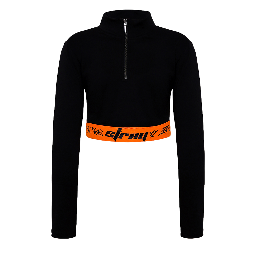 Black orange full sleeves crop top with a zip in the front and orange band at the waist