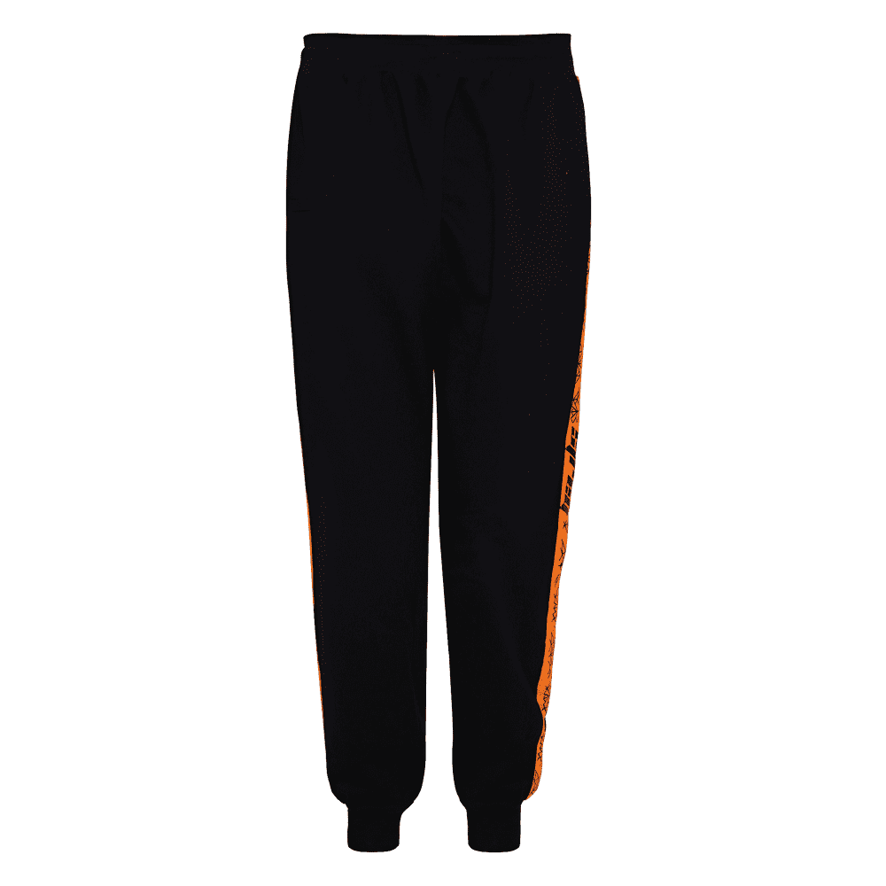 Back side of black and orange track pant with orange strips on the side.
