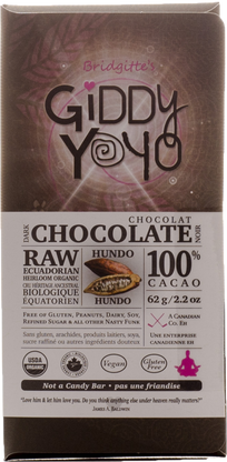 Giddy Yo Hundo 100% Cacao bar sugar free 64g