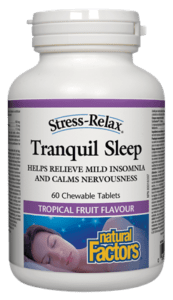 Natural Factors Tranquil Sleep 60 tropical fruit chewable tablets