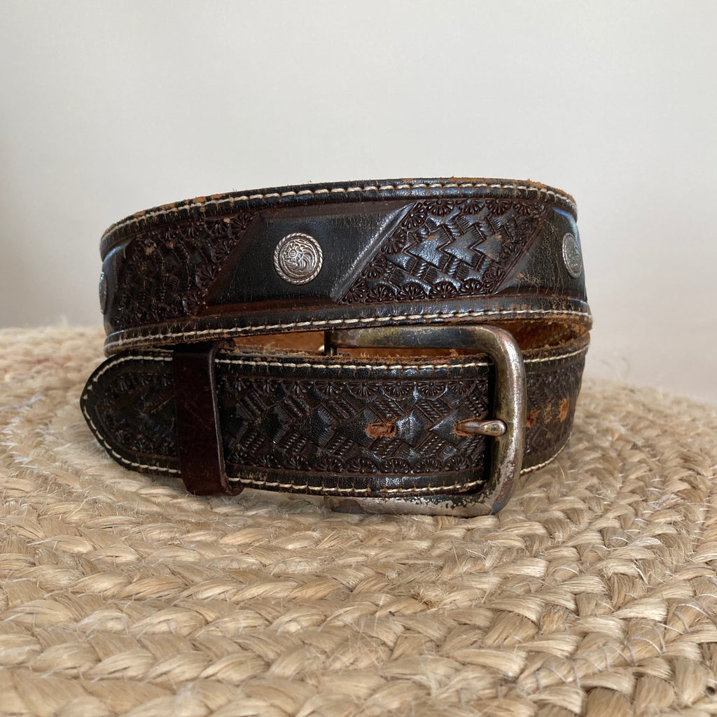 Vintage Conchos Tooled Belt