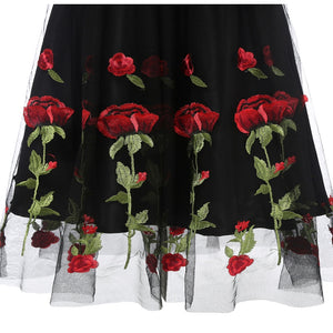 Rose Flower Embroidery Dress