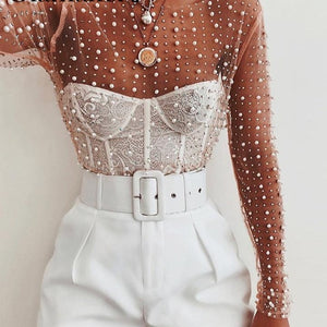 Diamonds and pearls cop mesh top