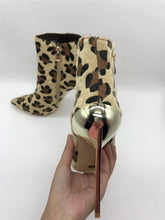 Load image into Gallery viewer, Leopard Pointed Toe Booties