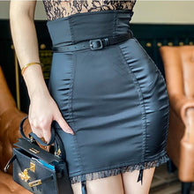Load image into Gallery viewer, High waist ruffles mini skirt