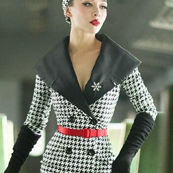 Houndstooth pencil dress