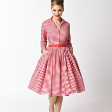 Load image into Gallery viewer, Gingham swing dress