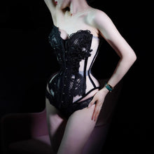 Load image into Gallery viewer, Handmade Lace Overbust Corset