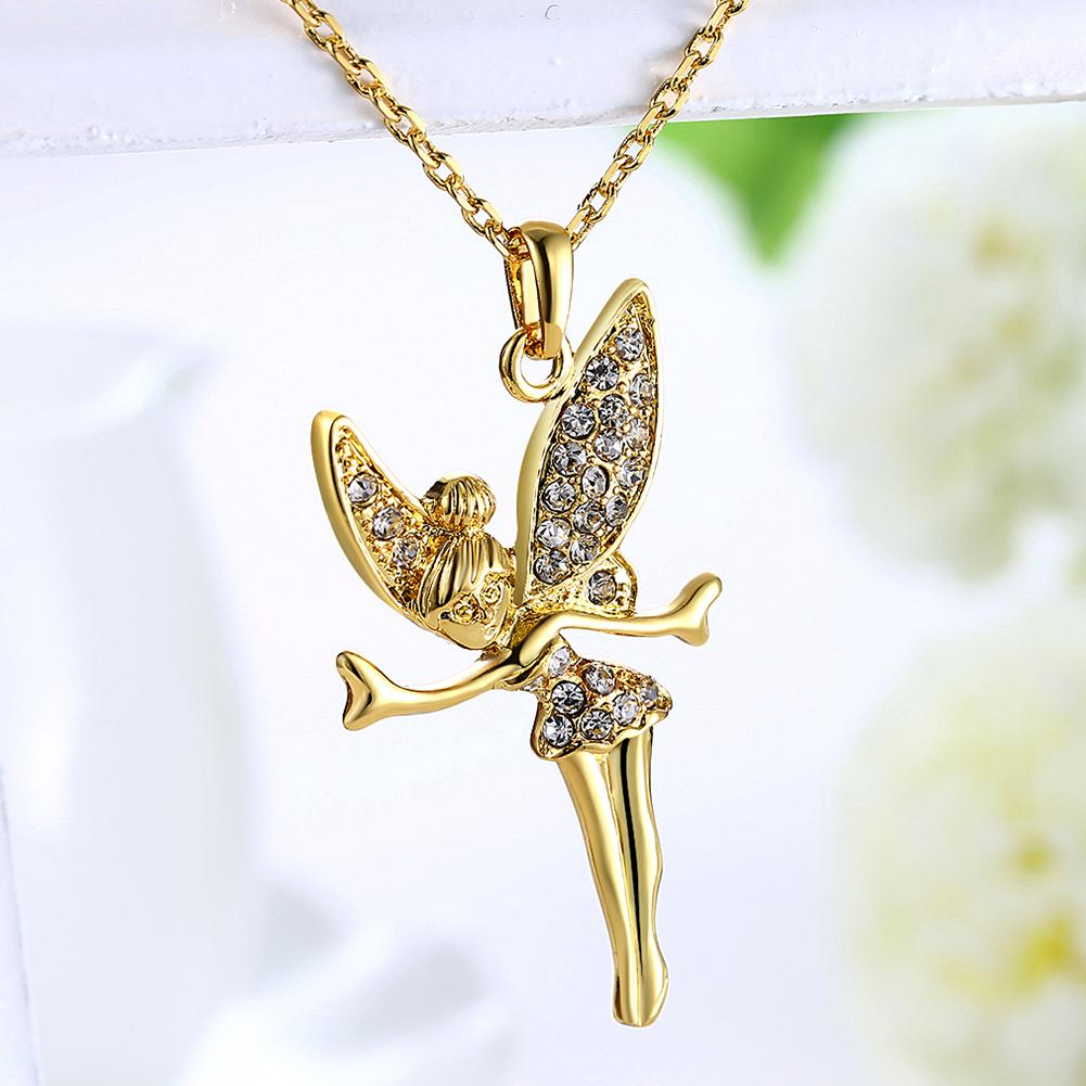 Tinkerbell Classic Necklace Embellished with Swarovski Crystals in 18K Gold Plated