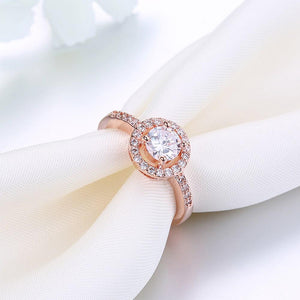 2.00 CT Circular Halo Pave in 18K Rose Gold Ring with Swarovski Crystals
