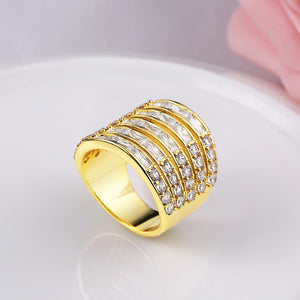 Princess & Baguette Cut Swarovski Large Cocktail Ring