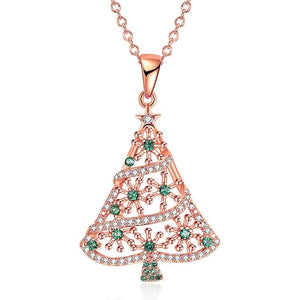 18K Rose Gold Plated Christmas Tree Green Ornaments Necklace