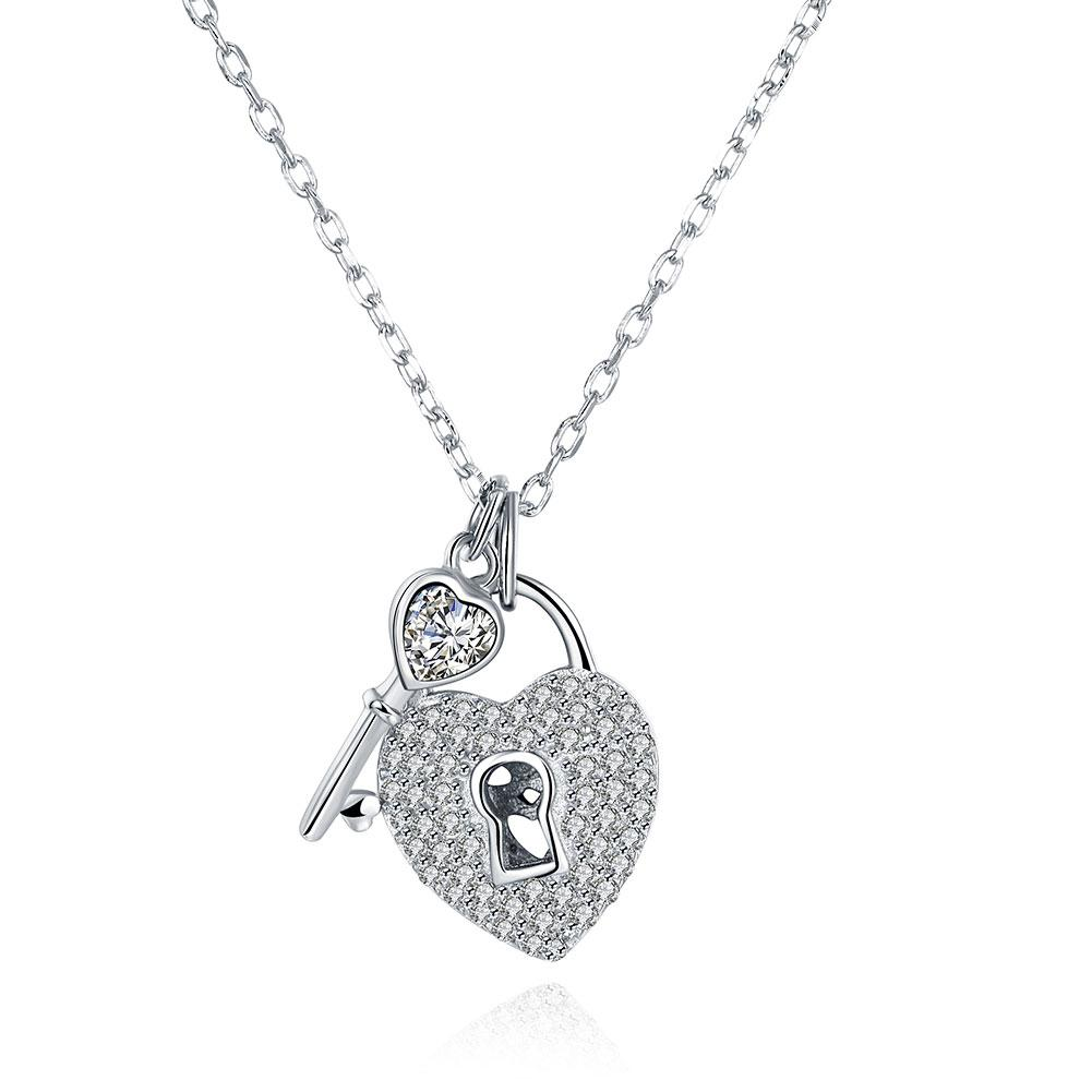Sterling Silver Key To My Heart Swarovski Necklace