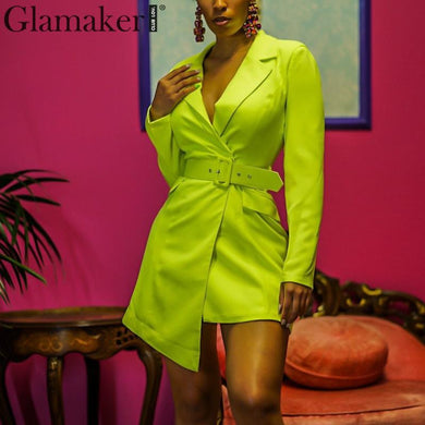 Elegant Glamaker V-Neck Women's Blazer  Belted Mini Blazer/Dress