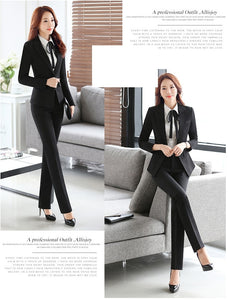 Women's Professional Four-piece Single Breasted Pant Suit