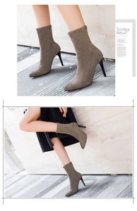 Women's Pointed Toe High Slip On Ankle Boots