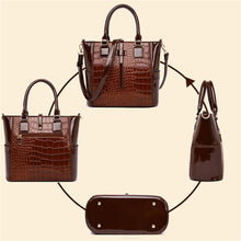 Load image into Gallery viewer, 2 Piece Set Patent Leather Alligator Tote Bags