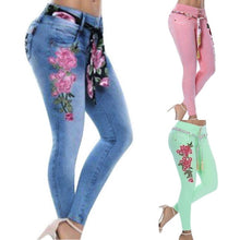 Load image into Gallery viewer, Women's Floral Embroidery Jeans Plus Size