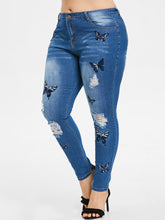 Load image into Gallery viewer, ROSEGAL Plus Size Butterfly Embroidered Ripped Jeans