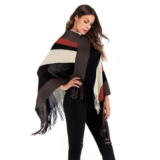Poncho Cape Winter Coat Women Ponchos Bat Pullover Color Stripe Knitting Tassel Tops