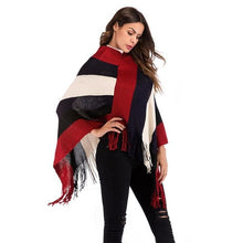 Load image into Gallery viewer, Poncho Cape Winter Coat Women Ponchos Bat Pullover Color Stripe Knitting Tassel Tops