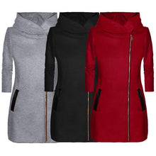 Load image into Gallery viewer, Ladies Winter High Collar Hooded Colorblock Women's Fashion Casual Coat