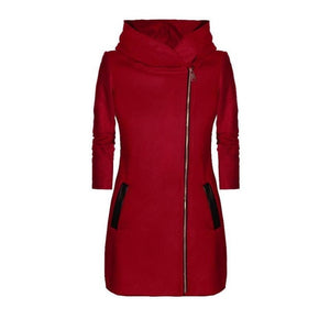 Ladies Winter High Collar Hooded Colorblock Women's Fashion Casual Coat