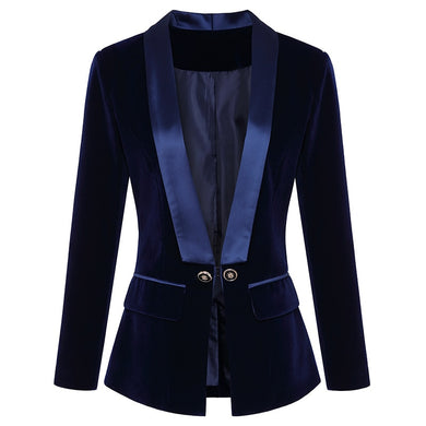 High Quality Autumn/Winter Velvet Lapels Women's Blazer