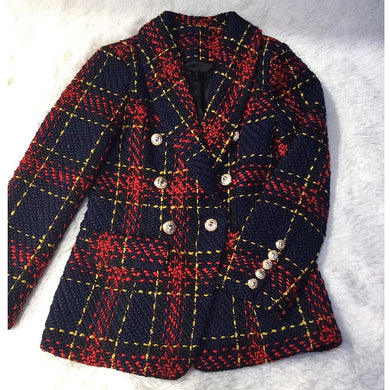 2019 Women's Plaid Weave Tweed Wool Double-Breasted Suit Jacket