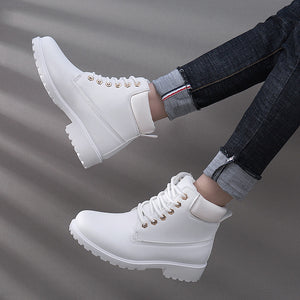 2019 Fashion Women's Winter Warm Fur Lace-up Ankle Boots