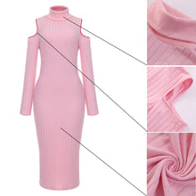 Load image into Gallery viewer, Women's Elegant Solid Long Sleeve Winter Sweater Dress