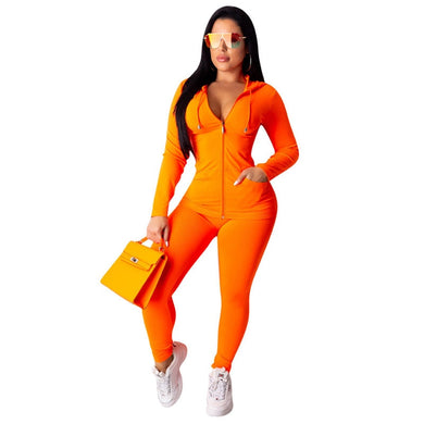 Women's Casual Solid Color Sports  Gym Fitness Workout Outfit Zipper Hooded Top+Skinny Pants Set