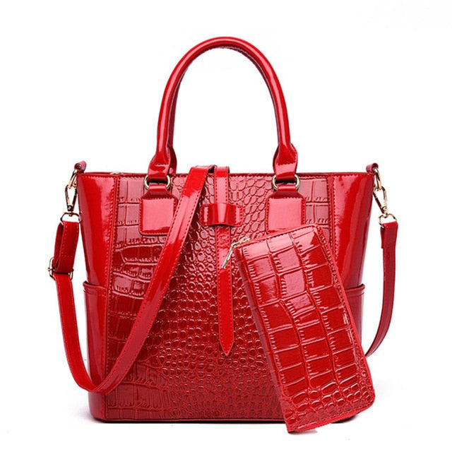 2 Piece Set Patent Leather Alligator Tote Bags