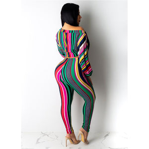 Women's Striped Print Long Sleeve Off Shoulder Crop Top Tights Two Piece Set