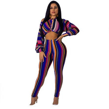 Load image into Gallery viewer, Women's Striped Print Long Sleeve Off Shoulder Crop Top Tights Two Piece Set