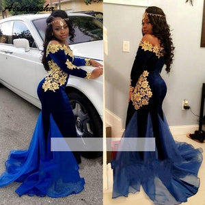 Mermaid Long Sleeves Lace Velvet Gold Off Shoulder Pageant/Prom/Evening/Formal Dresses Gown
