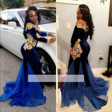 Load image into Gallery viewer, Mermaid Long Sleeves Lace Velvet Gold Off Shoulder Pageant/Prom/Evening/Formal Dresses Gown