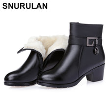 Load image into Gallery viewer, SNURULAN  Women's Winter Thick Wool Fur Lined Genuine Leather Boots