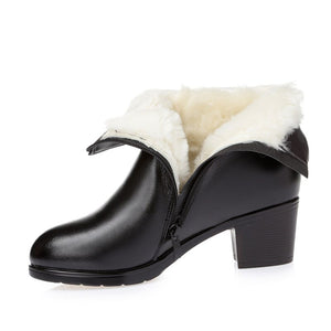 SNURULAN  Women's Winter Thick Wool Fur Lined Genuine Leather Boots