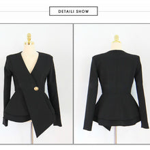 Load image into Gallery viewer, Women's V-Neck One-Button Ruffles Slim Coat  Long Pant Suit