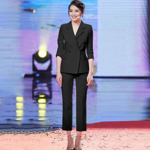 2019  Women Slim Suit Pants Set Elegant Solid Double Breasted Work Blazer + Ankle Length Pant